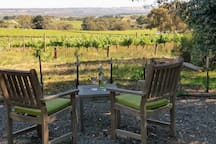 Lounging area with views of the Willunga hills.
