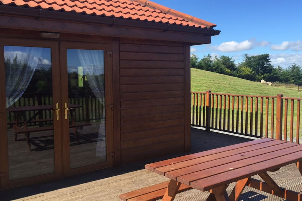Decking and picnic bench