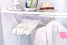 Wrinkle remover, ironing board, iron, hangers