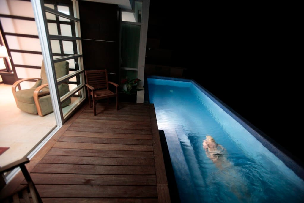 A swim at night