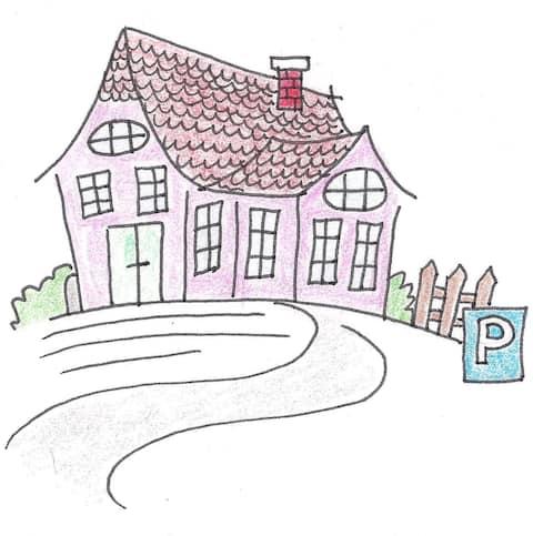 Vila colorida de Ulrich... adequada para famílias