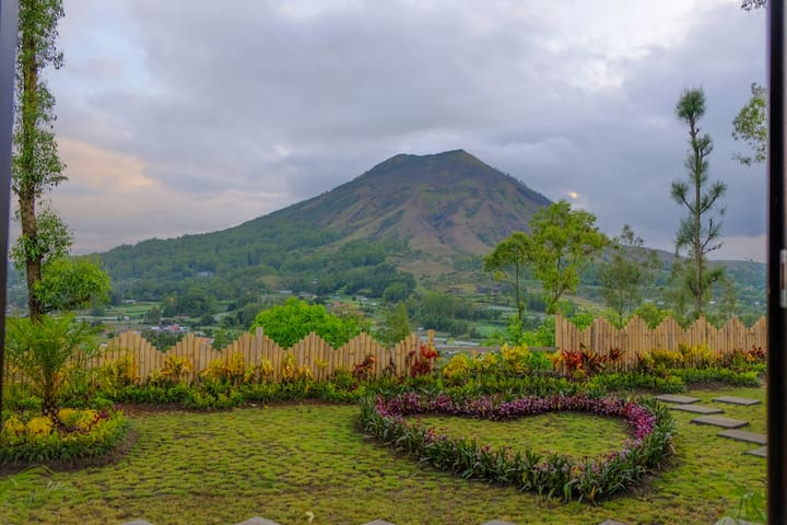Volcano View from Cliff Villa of Bunbulan Panorama