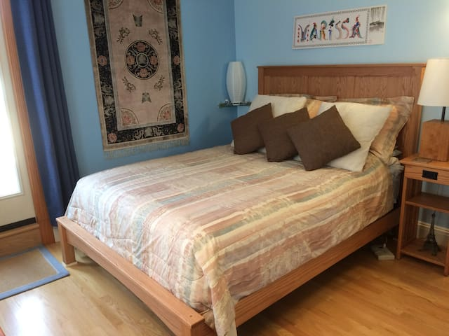 The Queen bed frame, night stand, bookcase, and quilt rack are all solid oak and Amish made.
