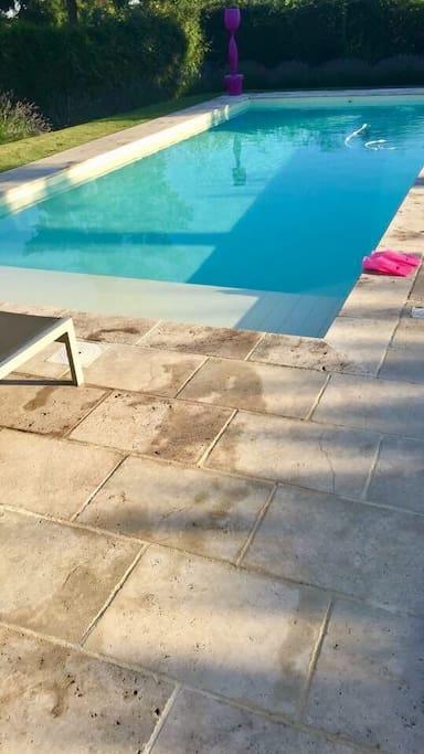 La piscine chauffée à 29 degrés 10 x 4 m
