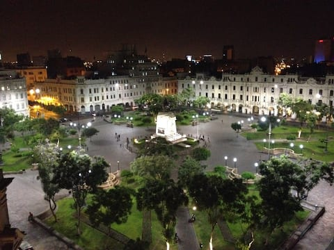 Plaza San Martin by night (My building entrance faces the Plaza)