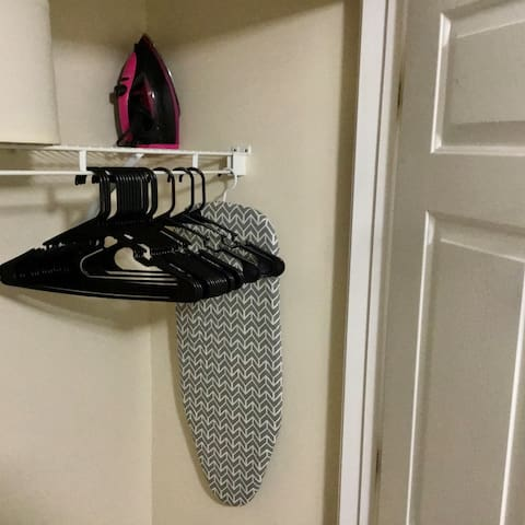 Closet with the necessities.