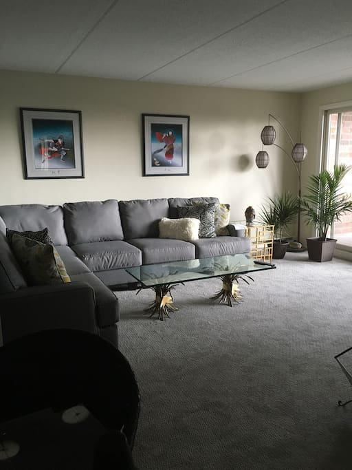 Very nice living room with doors to balcony