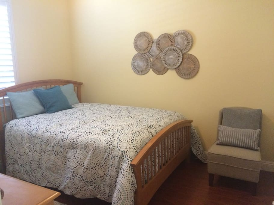 Your bedroom....queen bed with memory foam topper mattress, ceiling fan, lots of storage with full closet and dresser.