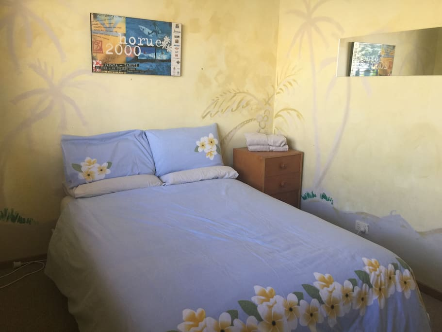 Tahiti Room, with garden views and new comfy double bed and linens.