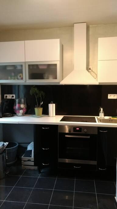 plaques à induction, nombreux placards  et vaisselles / équipement de cuisine