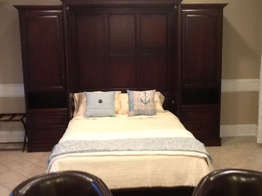 Custom queensize bed with natural bamboo mattress.