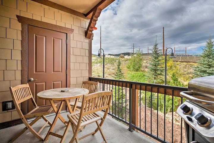 The unit includes a private balcony, 3 bedrooms, & 2 bathrooms - perfect for 8!