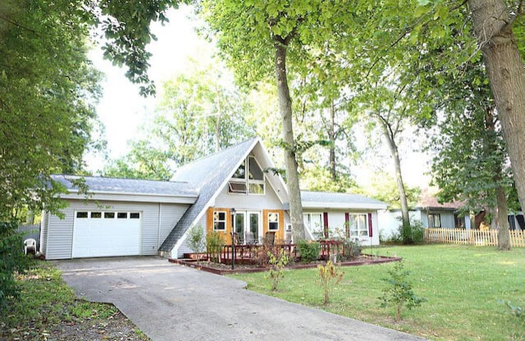 Clean, updated home with river view across the street.