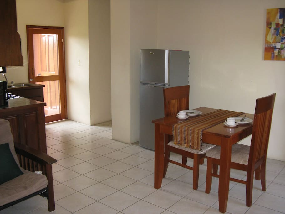 Dining Table and full size refrigerator