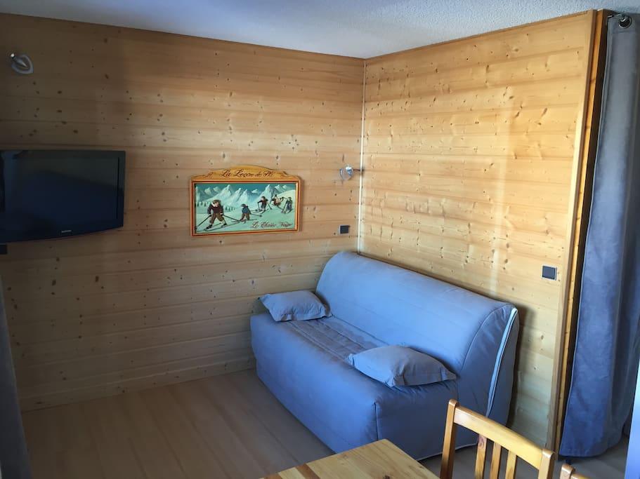 Espace salon tv le jour/canapé lit de 160cm la nuit. Chambre totalement fermé la nuit