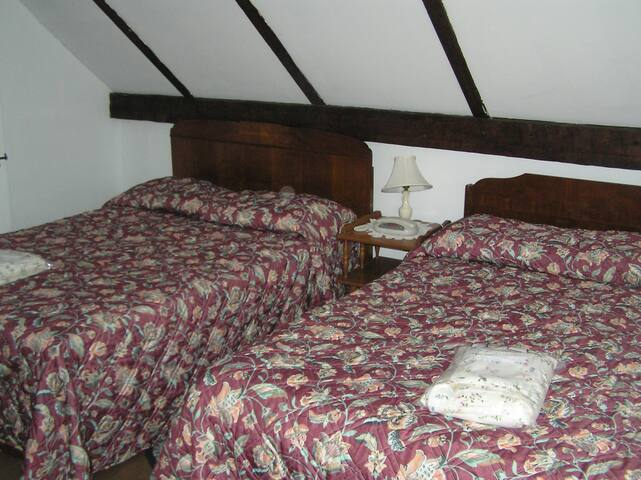 Bedroom #4 - two double beds - upstairs
