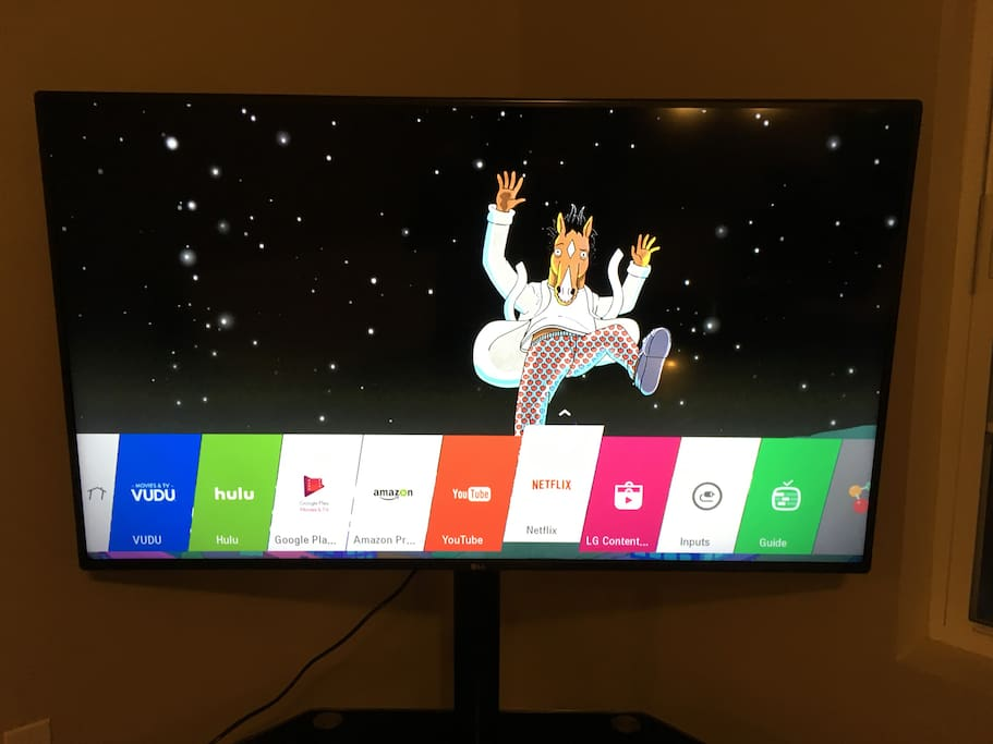 Smart 55 inch TV with Netflix and Hulu Subscription