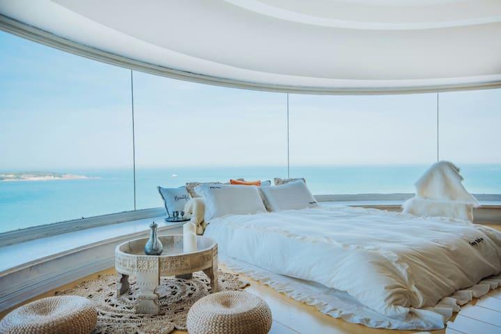 【情书】270度全视角超级海景&八大关景区&第一海水浴场&海边的渡假公寓