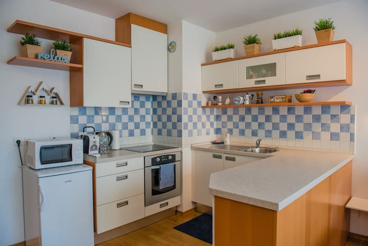 We have everything you'll need for your short or long stay in our fully equipped kitchen, which includes a stove, refrigerator & freezer, microwave oven, electric kettle, cafetiere coffee maker, toaster and all other basic kitchen utensils and essentials.