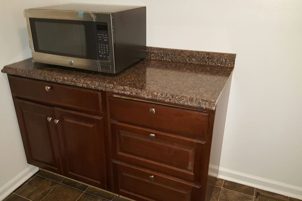New counter, floor and microwave!