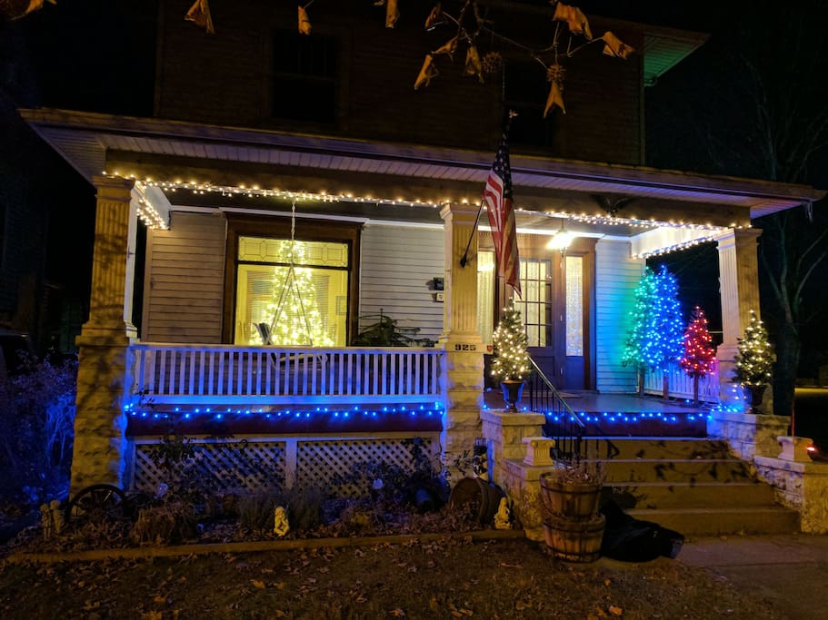 Front of house decorated for the holidays.