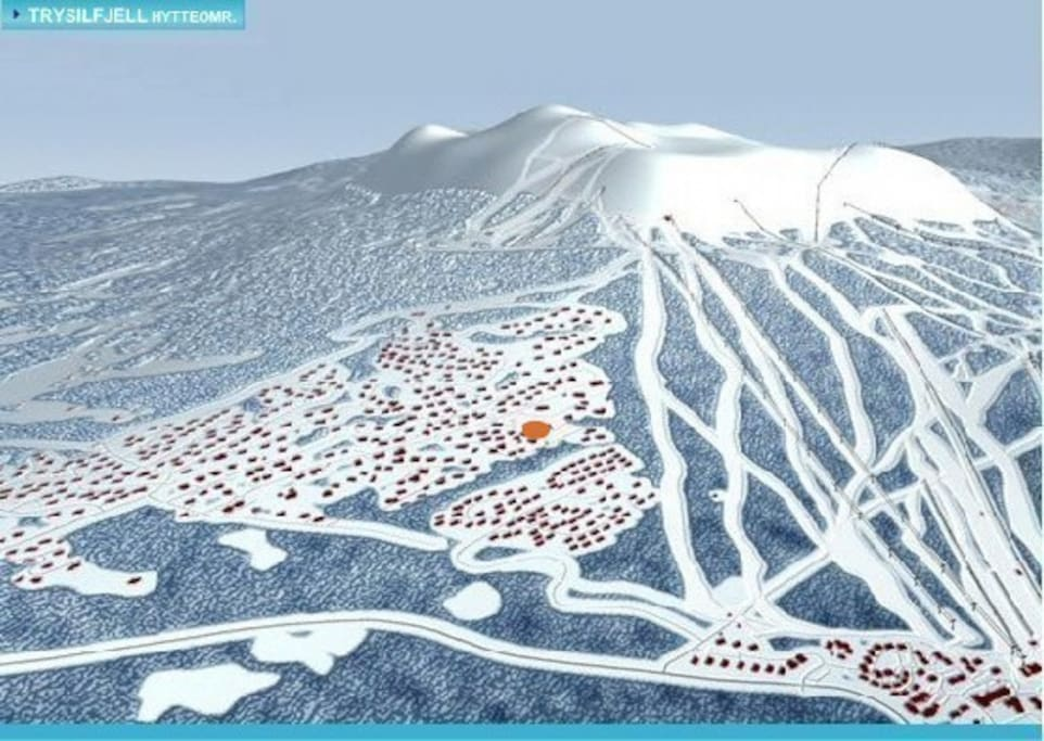 The red dot shows the position of the challet. One of the best locations in Trysil. Only 300m to the slope and 50 m from transport slopes. Ski inn/out. 1000m to restaurants, afterski and hotel.