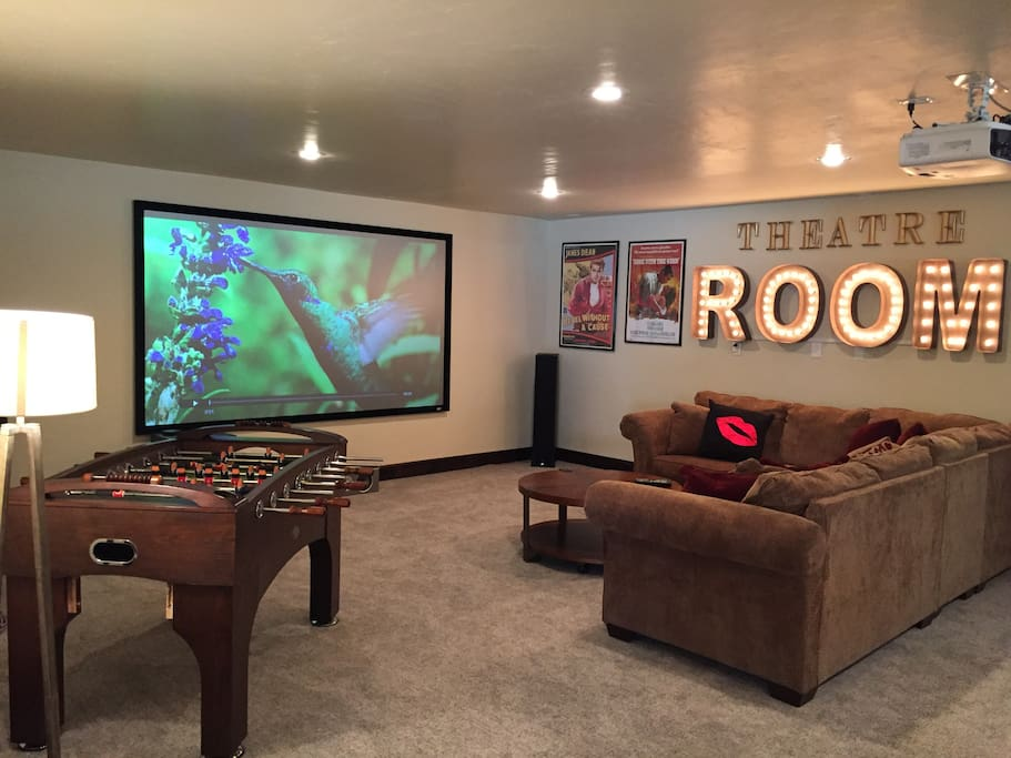 Theatre Room with Foos-Ball and Air Hockey Tables.