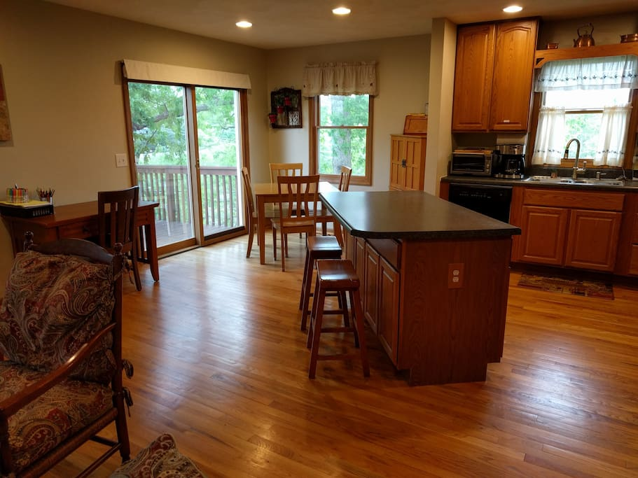 Kitchen is open to the living room, so you can cook while you entertain.
