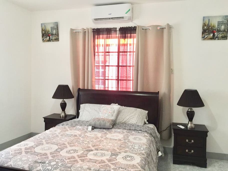Fully furnished bedroom with A/C