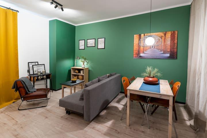 Zielone vintage mieszkanie z oknem na Park Tołpy