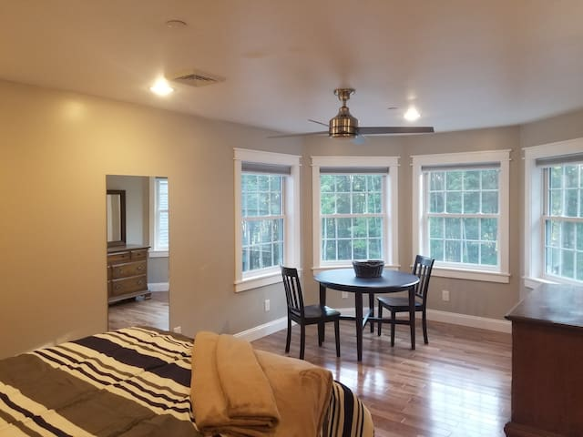 Spacious suite includes table and chairs, full length mirror, dresser, TV and queen sized bed.