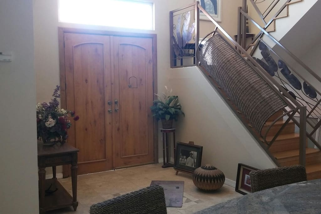 Front entrance with unique stairway