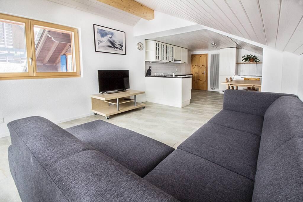 Open living room & kitchen