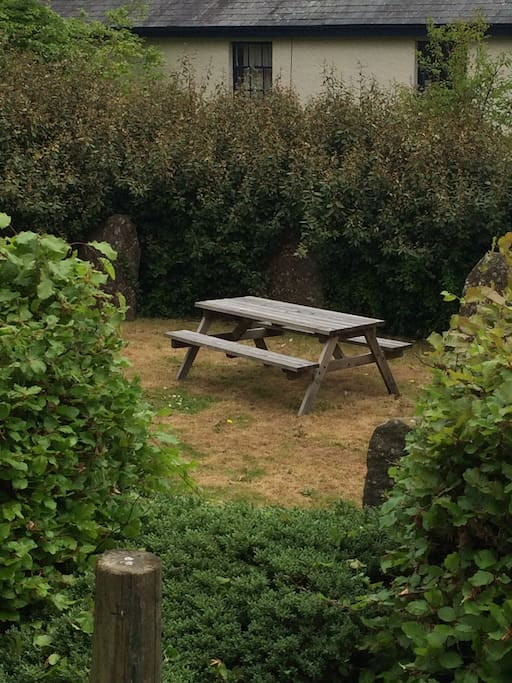 Seating in the stone circle for relaxing or alfresco food