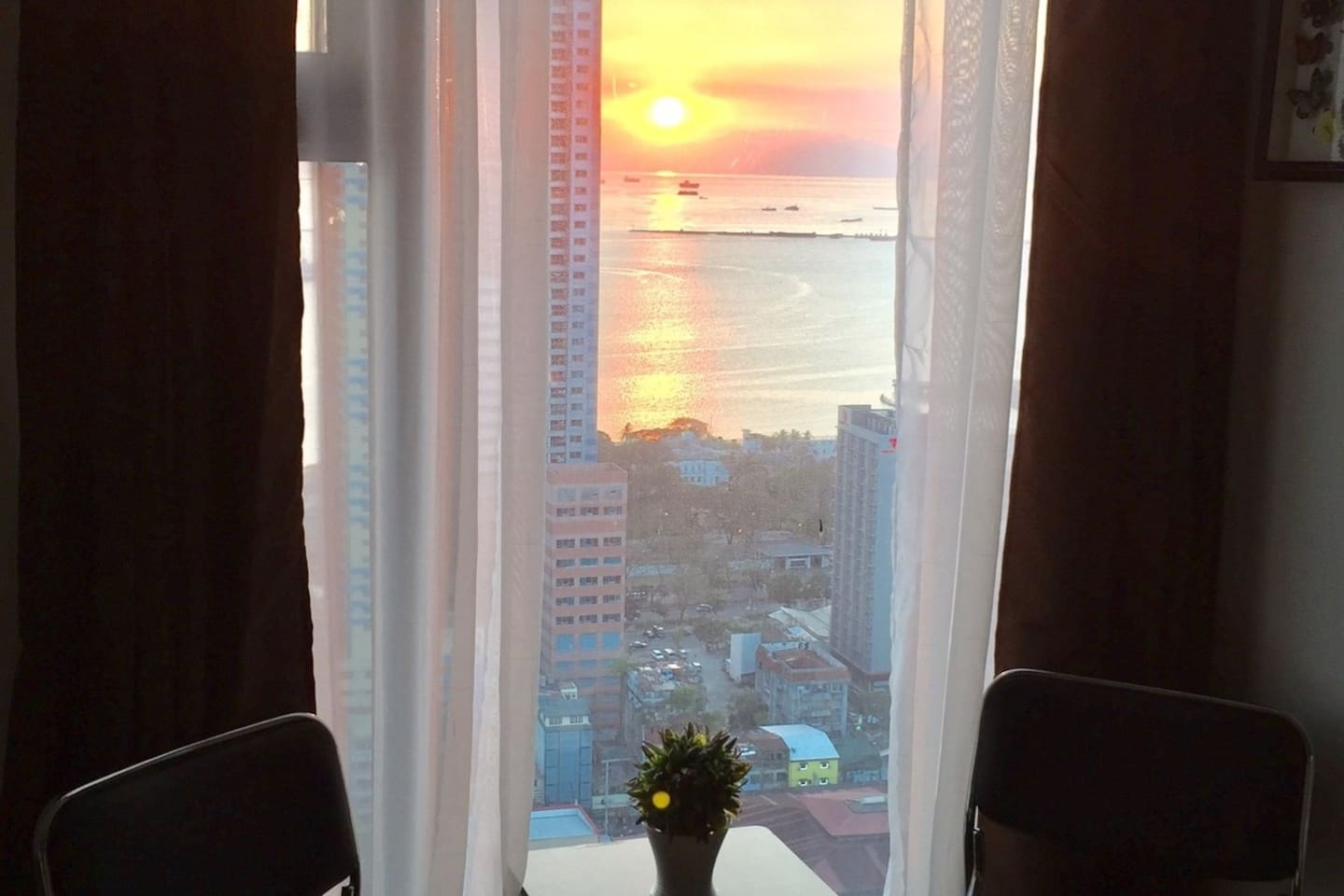Magnificent Manila Bay sunset from the 39th floor of the condo unit. Perfect for a romantic moment.
