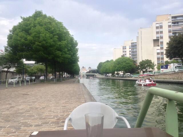 Paris au calme! terrasse et canal, proche métro
