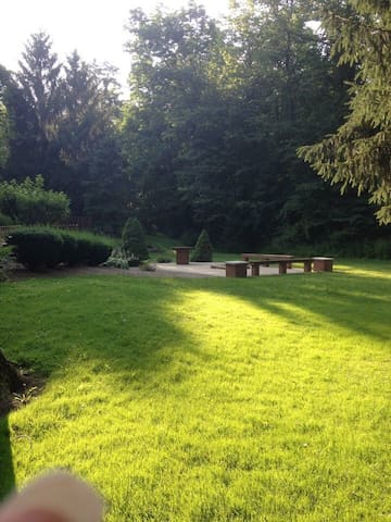 Fire pit area available for guests to use at their leisure.