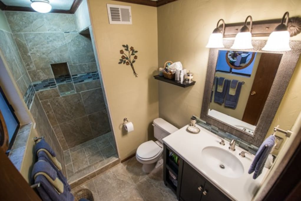 Private bath has a walk in shower with rainfall shower head