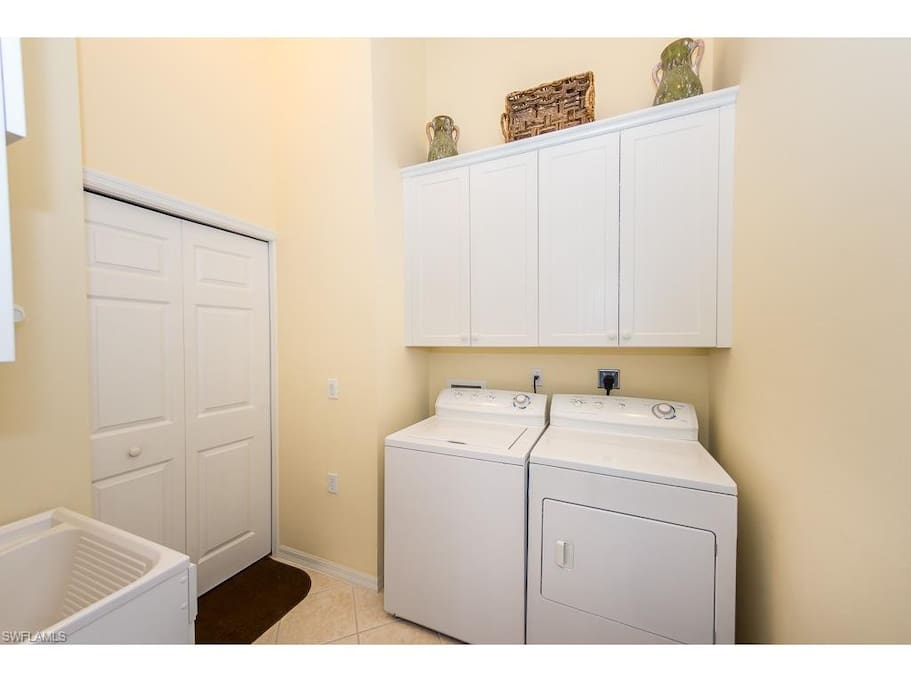 Washer and dryer with laundry tub