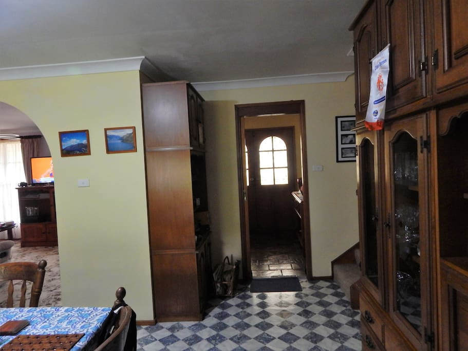 Entrance foyer , turn left and go up the stairs. Bedrooms for guests on the left.