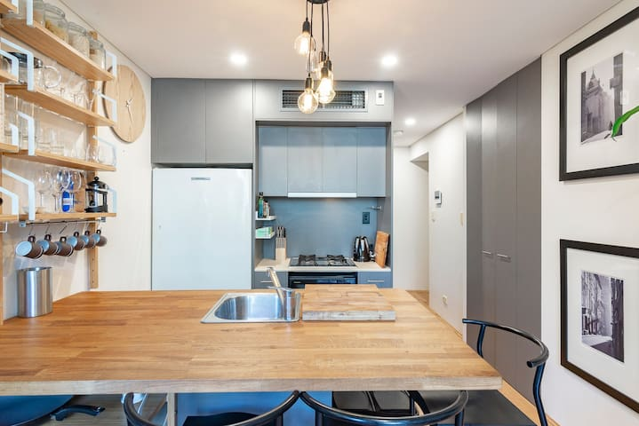A compact kitchen with everything you might need to cook up a storm