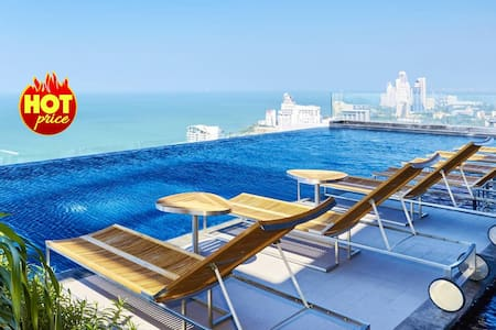 ✮ 1 BR Sea View in ♥ Pattaya 100 meters to Beach ✮ - Pattaya - Lägenhet