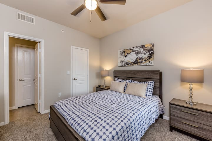 Second bedroom includes a comfy queen size mattress with fresh sheets.