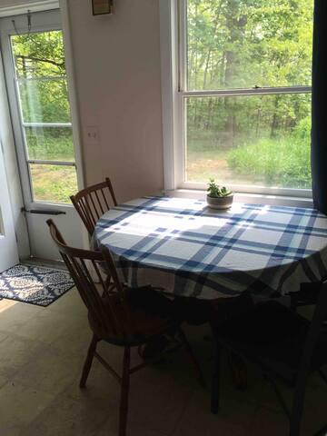 Enjoy your coffee sitting at the kitchen table on the quiet, sunrise side of house.