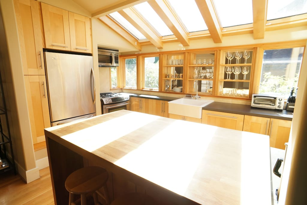 Skylights in kitchen assures it's bright even on overcast days