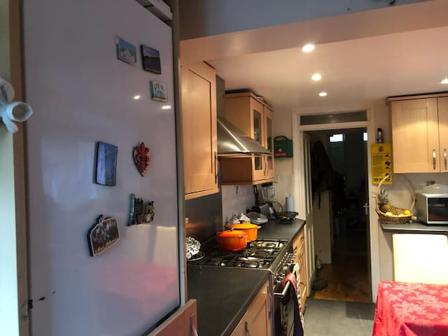 Kitchen with fridge and gas stove/oven.