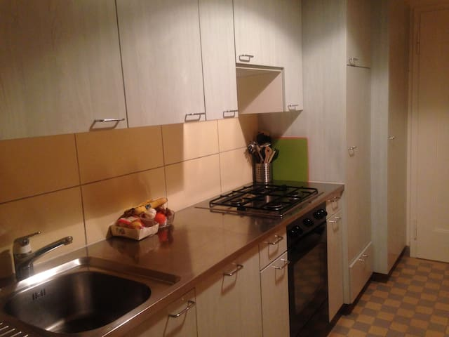 Kitchen with table, dishwasher, big fridge and access to balcony