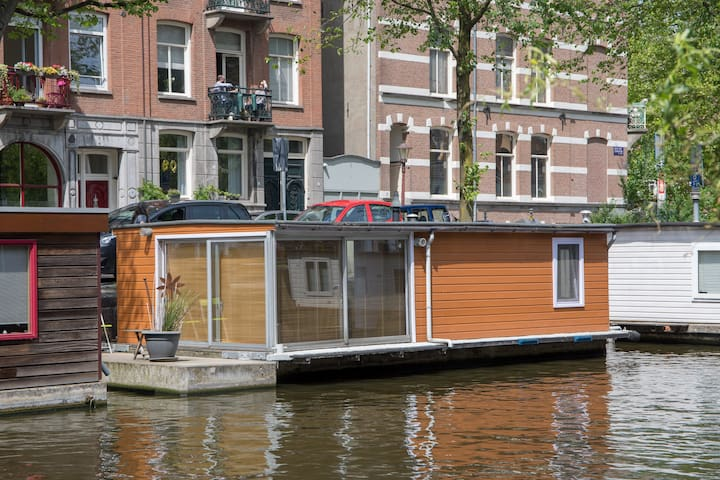 Lovely houseboat in a quiet canal