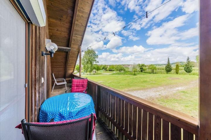 """Friendly Apartment """"Alte Hammerschmiede II"""" near Lake Constance with Mountain View, Wi-Fi, Balcony & Garden; Parking Available"""
