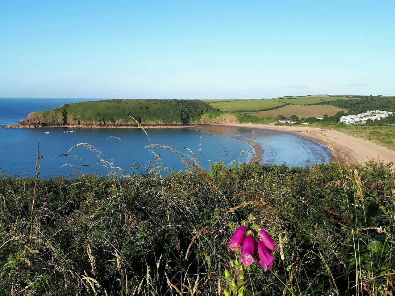 View of beautiful Freshwater East beach and holiday village from the Pembrokeshire Coastal Path
